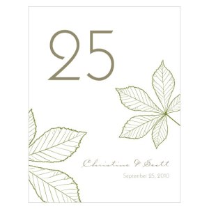 Autumn Leaf Table Number Numbers 85-96 Willow Green