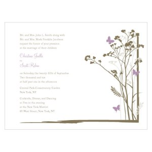 Romantic Butterfly Invitation Lavender