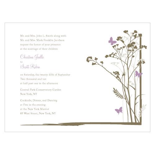 Romantic Butterfly Invitation Lavender