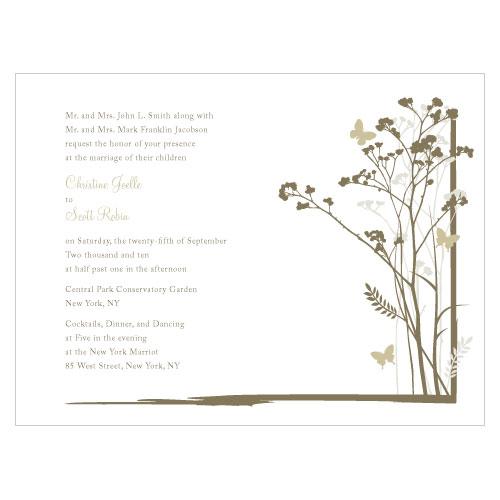 Romantic Butterfly Invitation Sandy Grey