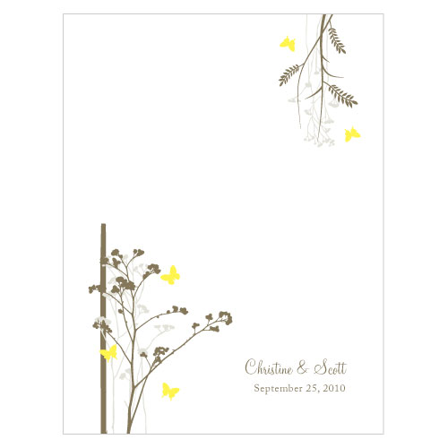 Romantic Butterfly Place Card With Fold Lemon Yellow
