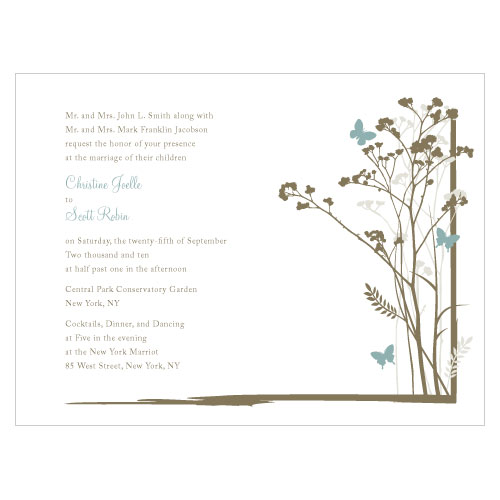 Romantic Butterfly Invitation Powder Blue
