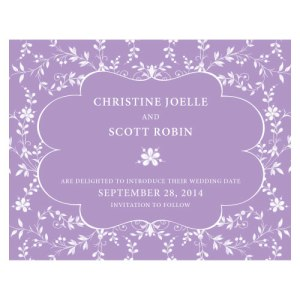 Forget Me Not Save The Date Card Lavender
