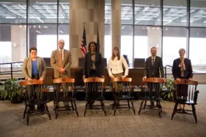 Pictured left to right: Robin Craig, Lincoln Davies, Erika George, RonNell Andersen Jones, Jeff Schwartz and Linda Smith.