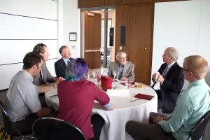 Students interact with University of Utah College of Law alumni Jackson Howard and Richard Burbidge. Photo by Sarah May.