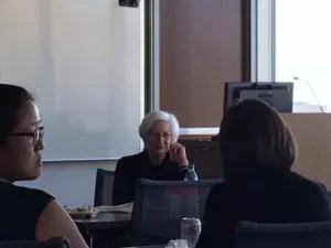 Patricia Frobes speaks to S.J. Quinney College of Law faculty.