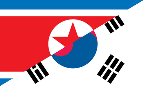North and South Korean flags