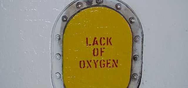 lack of oxygen