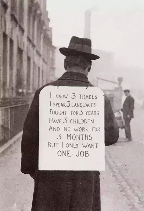 Job hunting in the 1930's.