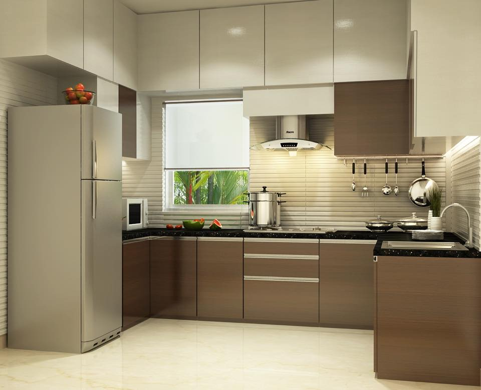 U shaped kitchen with modern cabinets and false ceiling by ... on Model Kitchen Design Images  id=91687