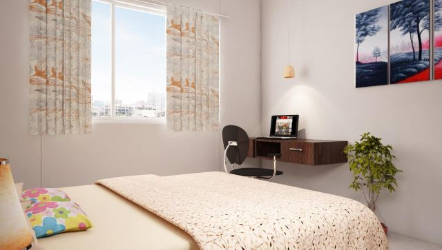 Contemporary bedroom with study table by Shubhashis Shomil