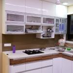 L Shaped Modular Kitchen With White Cabinets And Marble Flooring By Alaya D Decor