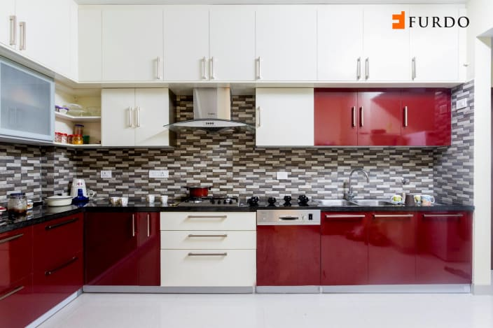 L Shape Kitchen With Red Amp White Cabinets By