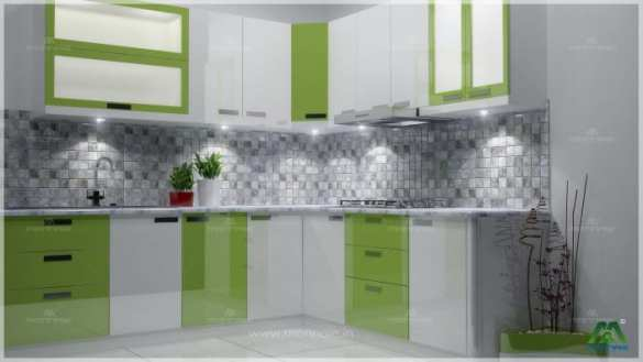 1 000  Modular Kitchen Design Ideas Pictures Green And White Shaded Modular L Shaped Kitchen