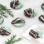 Chocolate Mint Donuts on grey background