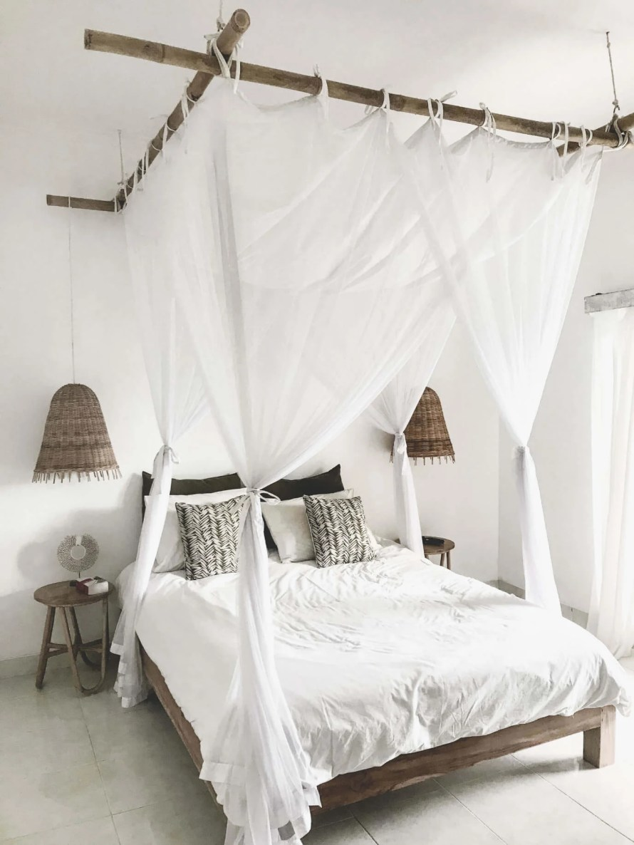 Bamboo Bed Frame with white linen
