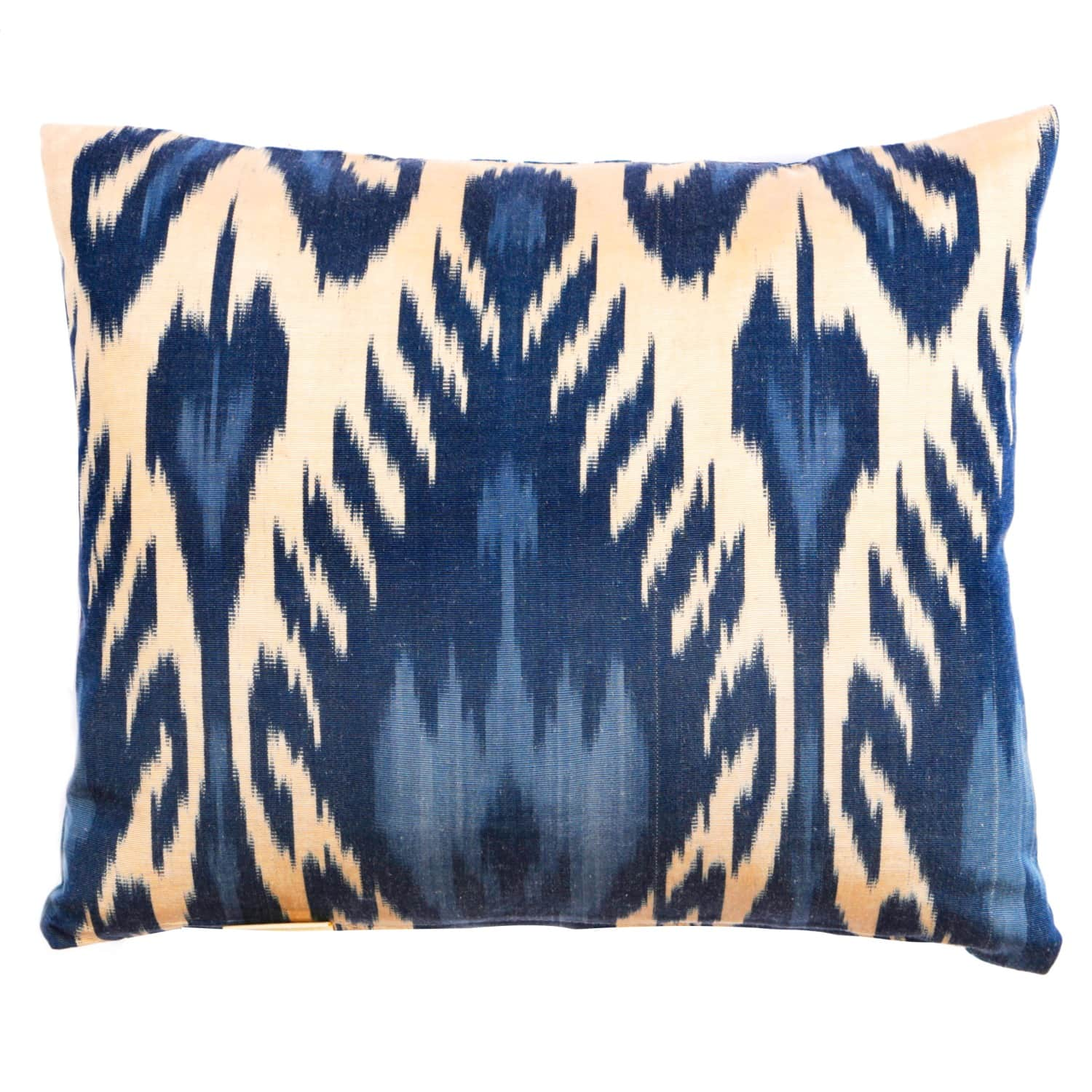 blue dreams handcrafted silk ikat cushion by heritage geneve