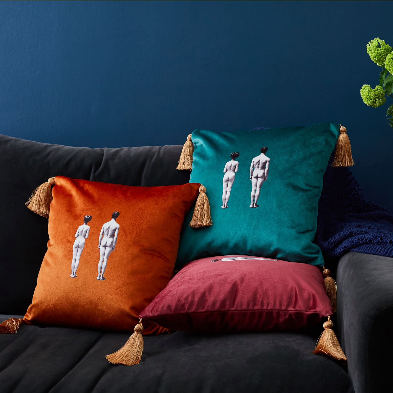 models velvet cushion burnt orange by melody rose london