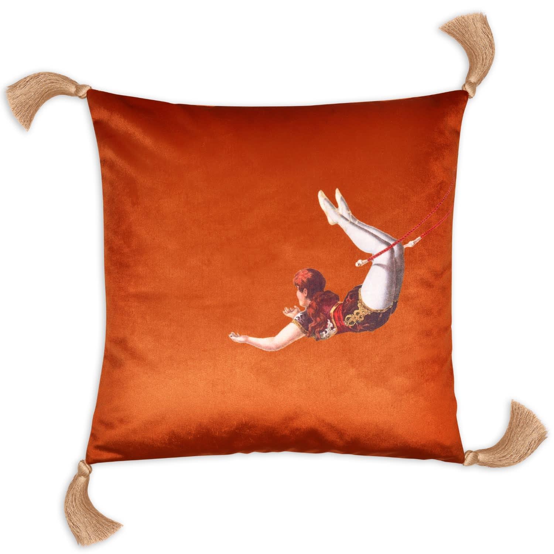 trapeze girl velvet cushion burnt orange by melody rose london