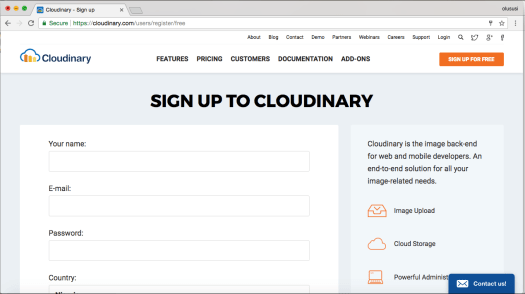 Cloudinary Register