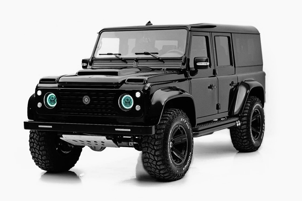 this blacked out land rover defender by