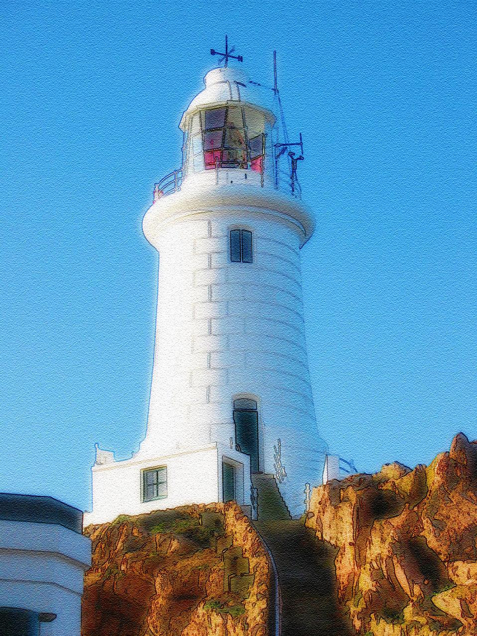 Lighthouses Free Stock Photo Illustration Of A White