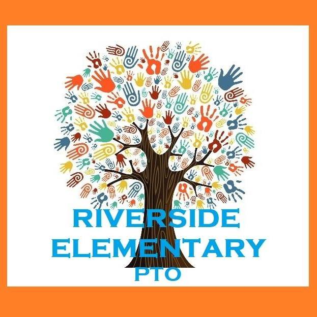 Riverside Elementary PTO Logo with Tree with painted hands