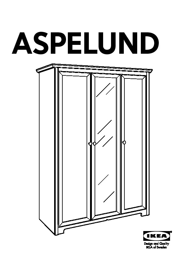 aspelund wardrobe with 3 doors