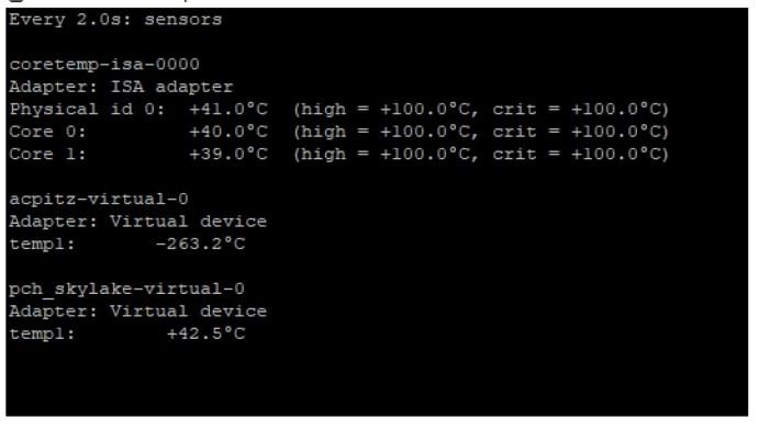 CPU Core Sensors - Sample values