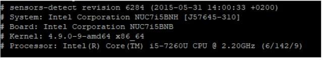 Intel NUC Board from Sensors - Detect