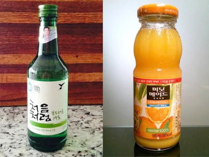 Soju and orange juice