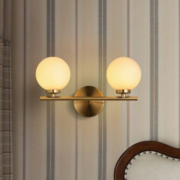 Gold Bar Sconce Lamp Ultra-Modern 2 Lights Milk Glass Orb ... on Ultra Modern Wall Sconces id=86123