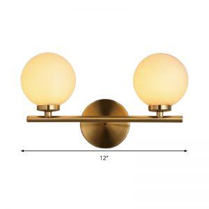 Gold Bar Sconce Lamp Ultra-Modern 2 Lights Milk Glass Orb ... on Ultra Modern Wall Sconces id=25184