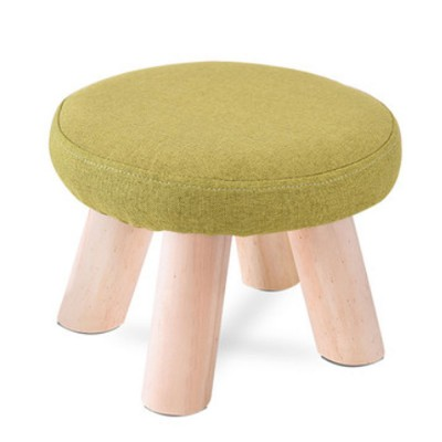 simple fruit patterns footstool with solid wooden legs small round fabric ottoman for home decoration