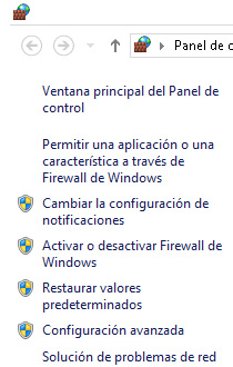 Panel izquierdo de Firewall de Windows