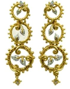 18k and diamond triple circle vine and leaf earrings.