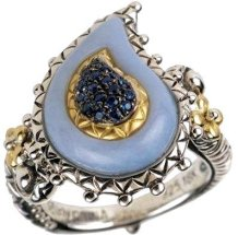 Buddha's Bodhi ring. Chalcedony with sapphire pave center.