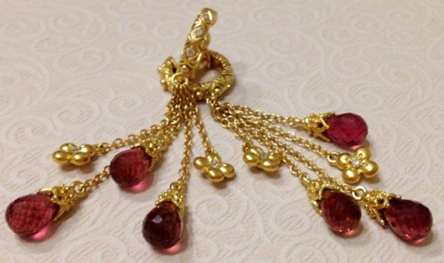 18K, diamond, and pink tourmaline briolette earrings.