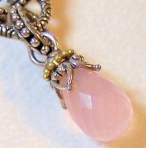 Rare rose quartz version of the briolette charms.