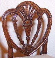 Heart-shaped shieldback Hepplewhite side chair by Lou Murter.