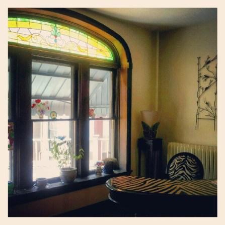 Living Room with Zebra Desk