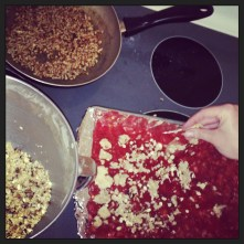 Spread Clumps of Streusel Mixture on Top of Berry Mixture