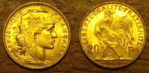 Le coq est représenté au dos d'une pièce de 20 francs