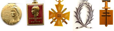 Différentes formes de médailles