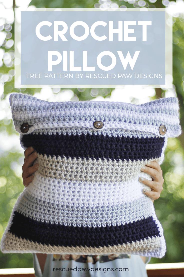 Striped Crochet Pillow Cover Free Crochet Pillow Pattern