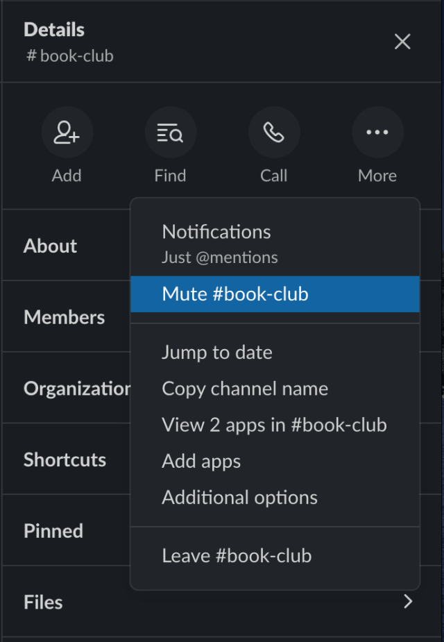 How to mute channels in Slack
