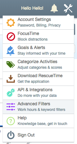 RescueTime Advanced Filters