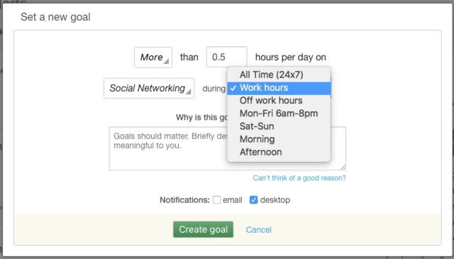 RescueTime Work Hours Goals