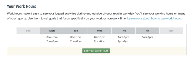 Set Work Hours RescueTime
