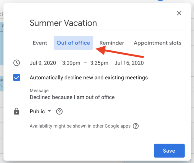 How to automatically decline meetings in Google Calendar when you're out of office